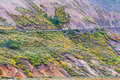 Shutter bus in denali national park in alaska over a cliff Royalty Free Stock Photos