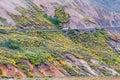 Shutter bus in denali national park in alaska over a cliff Royalty Free Stock Photos