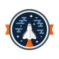 Shuttle badge round space scene with rocket Stock Photo