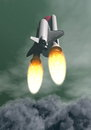 Shuttle taking off d render space among grey smoke and clouds Stock Photography