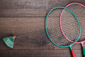 Shuttlecock and badminton racket Royalty Free Stock Photo