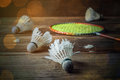Shuttlecock and Racket with parts of its feathers scattered Royalty Free Stock Photo