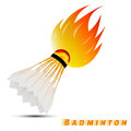 Shuttlecock with red orange yellow tone fire in the white background. sport ball logo design. badminton logo. vector.