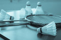 Shuttlecocks and rackets with monotone image Stock Photos