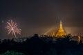 Shwe Dagon Pagoda New Year Firework Royalty Free Stock Photo