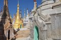 Shwe inn dain pagoda complex among the rebuilt pagodas at the indein village inle lake myanmar and its pagodas Royalty Free Stock Photo