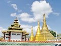 Shwe muay wan temple paya is a myawaddy x s most important a traditional bell shaped stupa gilded with many kilos of gold and Royalty Free Stock Photos