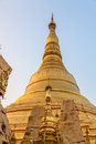 Shwedagon pagoda the detail of the stupa and big diamond bud on the top of it yangon myanmar Stock Photos