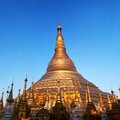 Shwedagon pagoda in yangon myanmar spire of famous golden Royalty Free Stock Photos
