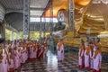 Shwethalyaung Reclining Buddha - Bago - Myanmar Stock Image