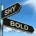 Shy bold signpost means introvert or extrovert meaning Royalty Free Stock Photos