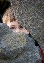 Shy glimpse through a gap Royalty Free Stock Photo