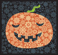 Shy halloween pumpkin with the flower decor vector illustration Royalty Free Stock Photos