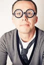 Shy nerd in funny glasses Royalty Free Stock Photo