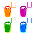 Shy recycle bin colorful or hidden spy with speaking balloon Stock Photography