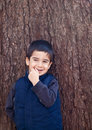 Shy Smiling Little Boy Stock Images