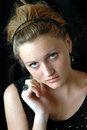 Shy teen in vintage formal dress Royalty Free Stock Photo