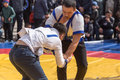 Shymkent, KAZAKHSTAN - 22 March 2017: Celebration of the Kazakh holiday NARIYZ. Competition wrestlers