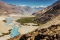Shyok river in Nubra valley Ladakh ,Jammu & Kashmir, India - September 2014 Royalty Free Stock Photo