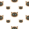 Siamese cat seamless pattern Flat design style. Cute cartoon character. Happy kitten with blue eyes. Baby background. Isolated. Royalty Free Stock Photo