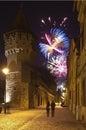 Sibiu fireworks Royalty Free Stock Images