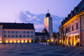 Sibiu romania image showing one of s landmark tower in the great square Stock Photo