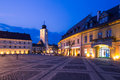 Sibiu romania image showing one of s landmark tower in the great square Royalty Free Stock Photography