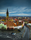 Sibiu small square view aerial of s on a cloudy day Stock Photography