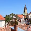 Sibiu town in transylvania romania townscape of the old town square composition Royalty Free Stock Photo
