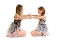 Sibling lyrical dance sister partners siblings in a or contemporary routine duo Stock Photos