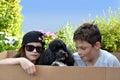 Siblings and  dog Royalty Free Stock Photo