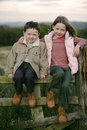 Siblings on Fence Royalty Free Stock Image