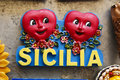 Sicilia with red hearts Stock Photos