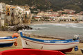 Sicilian fishing boat on the beach in Cefalu, Sicily Royalty Free Stock Photo