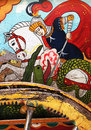 Sicilian folk art, paintings of chariots, paladins Royalty Free Stock Photo