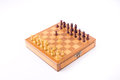 Sicilian gambit on chess board wooden with isolated white background Royalty Free Stock Photography