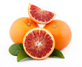Sicilian red oranges isolated on the white background Royalty Free Stock Photos