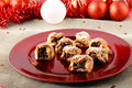 Sicilian sweet with dried figs and pastry on the christmas table complex background Royalty Free Stock Photography
