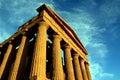 Sicily, ancient temple on blue eletric sky, Italy