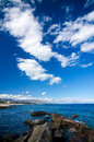 Sicily mediterranean sea the in near giarre riposto in the background the resort of taormina and giardini naxos can be seen Royalty Free Stock Image
