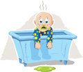 Sick baby illustration of a or a frustrated Stock Image