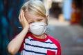 Sick boy wearing face mask Royalty Free Stock Photo