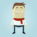 Sick cartoon man funny illustration of Royalty Free Stock Photo