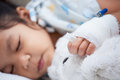 Sick child girl& x27;s hand with saline intravenous & x28;iv& x29; drip Royalty Free Stock Photo