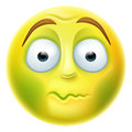 Sick emoji emoticon looking green nauseated or about to vomit Royalty Free Stock Image