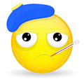 Sick emoji. Emotion of unhappiness. Ailing emoticon. Royalty Free Stock Photo
