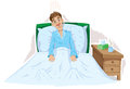Sick fella cartoon of a man who is in bed Stock Photo