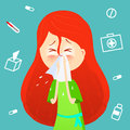 Sick girl. Allergy kid sneezing. Vector cartoon illustration. ill child with flu or virus. Health care concept. Runing