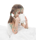 Sick girl drinking from cup a Royalty Free Stock Photo