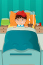 Sick kid resting a vector illustration of boy on bed Stock Image